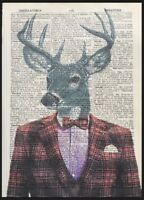 Vintage Stag Deer Head Print Dictionary Page Wall Art Picture Red Tartan Suit