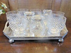 """ANTIQUE Stourbridge? SET 10 crystal WHISKY/JUICE TUMBLERS/GLASSES - 3.75"""""""
