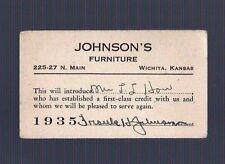 1935 JOHNSON'S FURNITURE BUSINESS CREDIT CARD & CALENDAR Wichita Kansas vintage