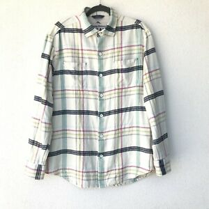 TOMMY BAHAMA RELAX Men's Size (XL) Shirt Plaid Flannel White Blue Pockets Soft