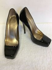 OFFICE BLACK PATENT LEATHER SQUARE TOE HEELS SIZE 5/38