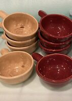 2 Sets of Vintage Heinz by McCoy Burgundy and Tan Pottery Bowls w/Handles