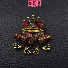 Crown Frog Charm Brooch Pin Gifts Betsey Johnson Red Enamel Rhinestone Cute
