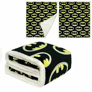 "JPI Batman Emblem Sherpa Fleece Faux Fur Throw Blanket 50""x 60"" 100% Polyester"