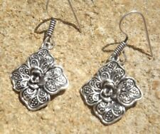 Ethnic Indian boho style alloy drop earrings silver tone flower design