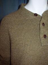 NWOT RRL RALPH LAUREN Lambswool LINEN Khaki THERMAL Rib MEDIUM Knit sweater XL