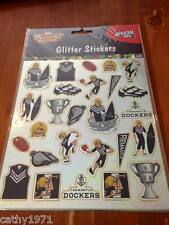 NEW Sheet of GLITTER Fremantle Dockers AFL Stickers - For Scrapbooking and Craft