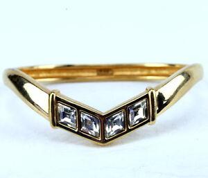 Swarovski S.A.L Signed Crystal Glass Diamond Stones Chevron Hinge Cuff Bracelet