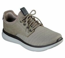 Skechers Shoes Men Taupe Memory Foam Casual Comfort Oxford Soft Mesh Knit 66272