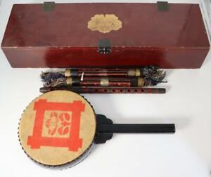 Japanese wooden Edaiko drum Ryuteki flute Taiko Wadaiko Shinto Buddhism WD15