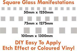 Glass manifestations 1250mm, safety stickers, squares 50mm or 75mm or 100mm high