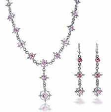 Baroque Set Gothic Crystal Pink Pink Collier Earrings Bride Trachtenschmuck 15P