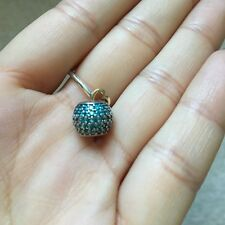Authentic Pandora Sterling Silver Pave Teal Blue Lights CZ Charm Bead 791051MCZ