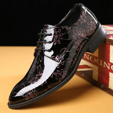 Mens Patent Leather Lace Up Cuban Heel Pointed Formal Wedding Evening Shoes