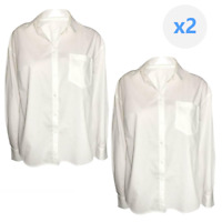 2 Women's White Long Sleeve Button down Shirt Blouse With Pocket by A New Day Sm