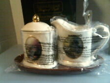 Thomas Kinkade Creamer and Sugar with Tray & spoon-New In Box-Free Shipping