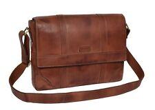 Mens Vintage Tan Leather Shoulder Messenger Bag Cross Body Organiser Satchel