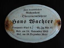 WW2 GERMAN ELITE DIVISION Obersturmführer Hans Wachter ENAMELED GRAVE PLATE LAH