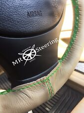 FITS FORD MUSTANG MK4 94-04 BEIGE LEATHER STEERING WHEEL COVER GREEN DOUBLE STCH