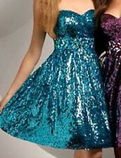 Shimmer Bari Jay Blue Rhinestone Prom Pageant Evening Party Cocktail Dress 6