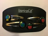 American Girl Hair Barrettes Children 2 Sets of Two - Red Apple and - Blue Globe