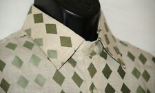 Men's Infar shirt sz 44 NWT long sleeve diamond pattern shirt