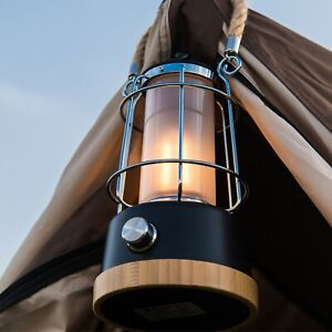 Retro LED Outdoor Lantern, Rechargeable Lithium-ion Batteries Included, Dimmable