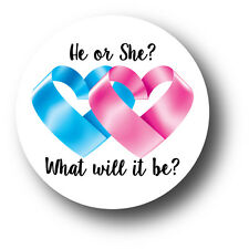 30 He or She? What will it be? GENDER REVEAL Baby Shower Stickers