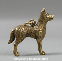43MM Collect Small Curio Chinese Bronze Lovable Zodiac Animal Dog Wealth Pendant