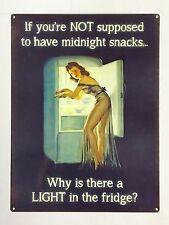 Midnight Snack Light in the Fridge - Tin Metal Wall Sign