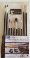 10 Artist Brushes Paint Brush Set Assorted Sizes Acrylic Oil Brushes CHILTERN