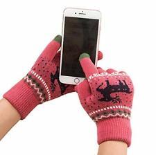 TouchScreen Gloves Winter Texting Grip Phone Gloves Pink Warm Cuffed Hem