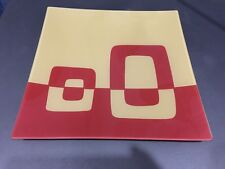 Vintage 1980's Gold & Red Square Glass Plate