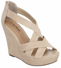 NEW SIZE 8 BEIGE HIGH HEEL WEDGE SUMMER SANDAL PLATFORM WOMEN OPEN TOE GIRL PUMP