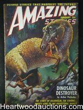 """""""Amazing Stories"""" January 1949 Dinosaur cover by J. Allen St. John, Rog Phillips"""