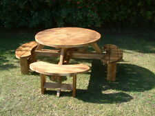 Round Picnic Bench, table Beer pub garden furniture made from 38mm thick timbers