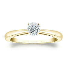 Certified 14k Yellow Gold 4-Prong Round Diamond Solitaire Ring 0.40ct G-H, I1-I2