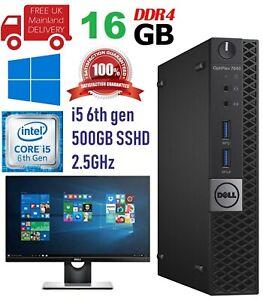 """Dell Optiplex 7040 USFF Intel Core i5 6th Gen 16GB Ram 500 SSHD 22"""" LCD WiFi"""