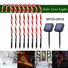 Candy Cane Outdoor Christmas Decor Solar Path-light Stake Lamp Pathway 8Pcs/Set
