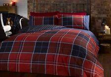 Duvet Quilt Cover Bedding Set & Pillowcase Reversible Tartan Check & Striped