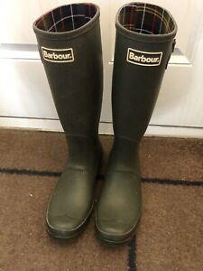 Men's Barbour Olive Green Wellington Boots UK 9