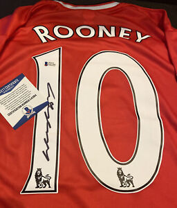 WAYNE ROONEY SIGNED MANCHESTER UNITED PRO STYLE SOCCER JERSEY~BECKETT COA AUTH.~