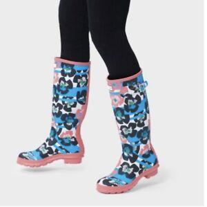HUNTER Women's Original Floral Stripe Tall Rain Boots Peony Size 8, Euro 39