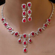 DIAMOND LOOK PRECIOUS GEMSTONES RUBY NECKLACE EARRINGS IN PLATINUM FINISH