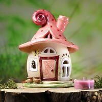 Windlicht Häuschen ca.15 cm hoch - rosa mit Punkten - Honiglicht Keramik