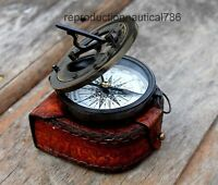 Astrolabe Solid Brass Antique Working Compass With Leather Case Decor Nautical