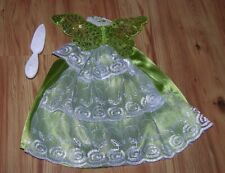 Barbie Dress Ball Gown Green & White With Butterfly Wings Embroidery Design