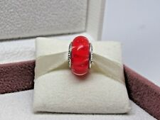 New w/BOX Pandora Coral Looking Glass Murano Glass Bead Charm 790926 Red Orange