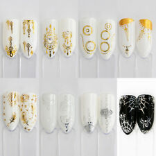 30PCS Gold Silver Water Decal Feather Flower Spider Nail Art Stickers