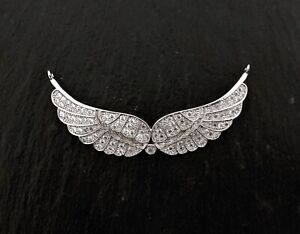 CZ Silver Plated brass Angel Wing Link Jewelry Making Beads Necklace Beads